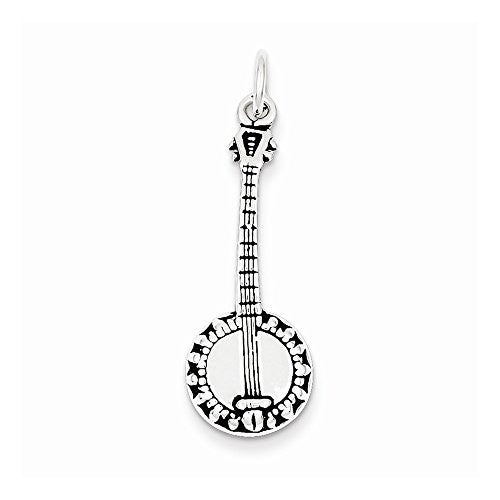 Sterling Silver Antiqued Banjo Charm, Best Quality Free Gift Box Satisfaction Guaranteed - shopvistar