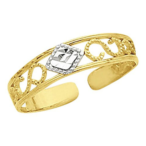 14k & Rhodium Dia-Cut Toe Ring, Best Quality Free Gift Box Satisfaction Guaranteed - shopvistar