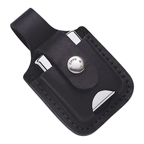 Zippo Black Leather Loop with Thumb Notch Lighter Pouch - shopvistar