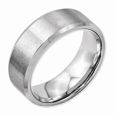 Stainless Steel Flat Beveled Edge 8mm Brushed And Polished Band, Best Quality Free Gift Box Satisfaction Guaranteed - shopvistar