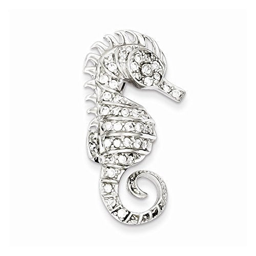 Sterling Silver Cz Seahorse Pin, Best Quality Free Gift Box Satisfaction Guaranteed - shopvistar