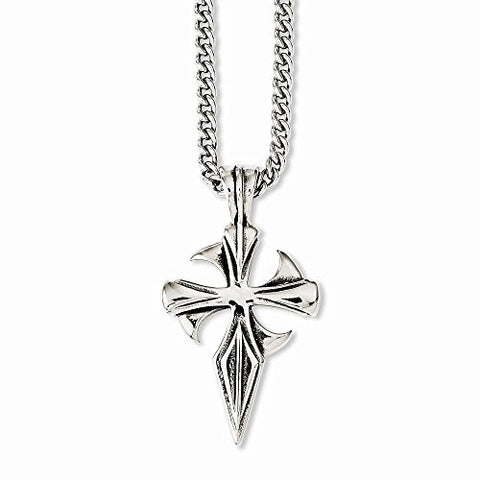 Stainless Steel Polished & Antiqued Dagger Cross 22in Necklace - shopvistar