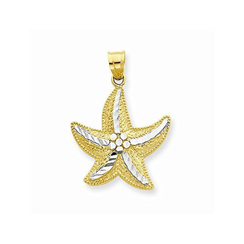 14k & Rhodium Starfish Pendant, Best Quality Free Gift Box Satisfaction Guaranteed - shopvistar