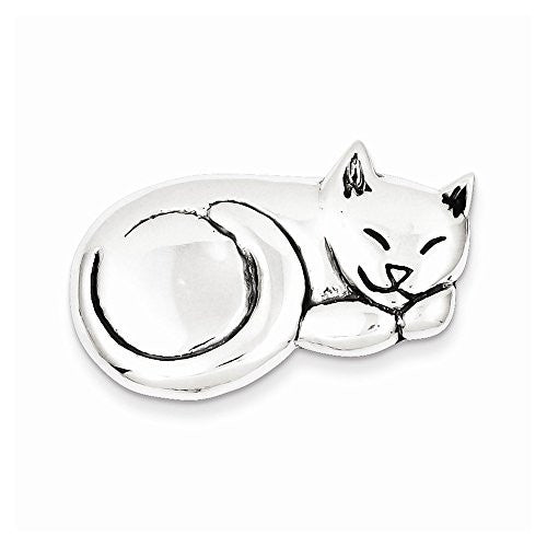 Sterling Silver Antiqued Sleeping Cat Pin, Best Quality Free Gift Box Satisfaction Guaranteed - shopvistar