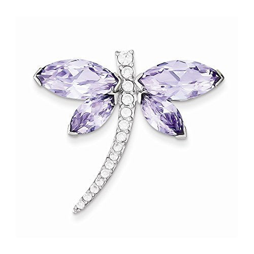 Sterling Silver Lavender Cz Dragonfly Slide, Best Quality Free Gift Box Satisfaction Guaranteed - shopvistar