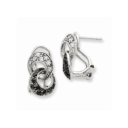 Sterling Silver CZ Interlocking Loop Omega Back Earrings - shopvistar