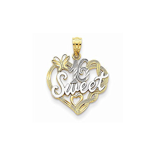 14k And Rhodium Sweet 16 Pendant, Best Quality Free Gift Box Satisfaction Guaranteed - shopvistar