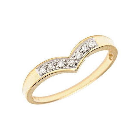 10K Yellow Gold Diamond Chevron Ring (Size 5) - shopvistar