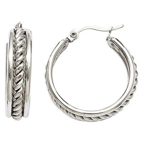 Stainless Steel 20mm Twisted Middle Hoop Earrings with Vi Star Polishingcloth - shopvistar