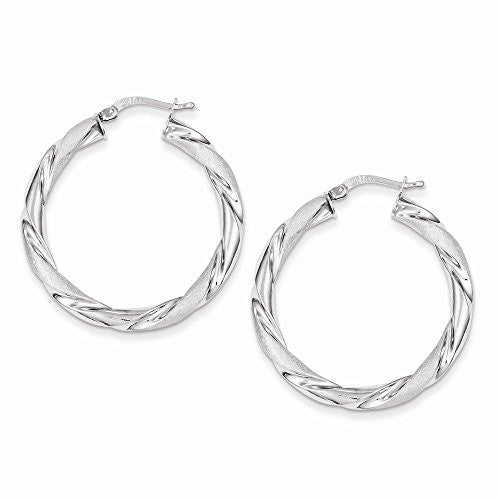 Sterling Silver Satin & Polished Hollow Hoop Earrings, Best Quality Free Gift Box Satisfaction Guaranteed - shopvistar