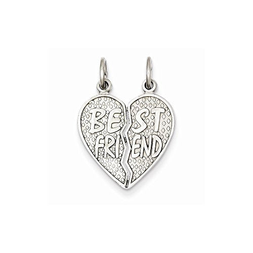 14k White Gold Polished Best Friend Heart Pendant, Best Quality Free Gift Box Satisfaction Guaranteed - shopvistar