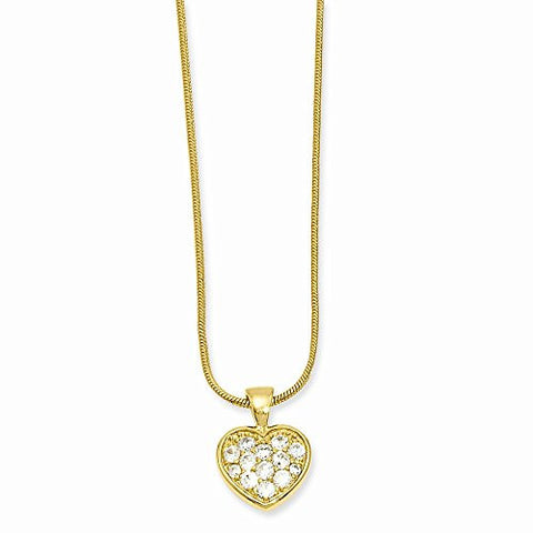 18in Gold-plated Cz Pave Heart Necklace, Best Quality Free Gift Box Satisfaction Guaranteed - shopvistar