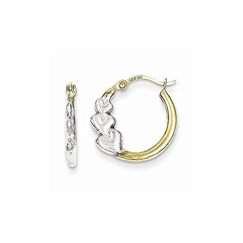 10k & Rhodium And Hearts Hollow Hoop Earrings, Best Quality Free Gift Box Satisfaction Guaranteed - shopvistar