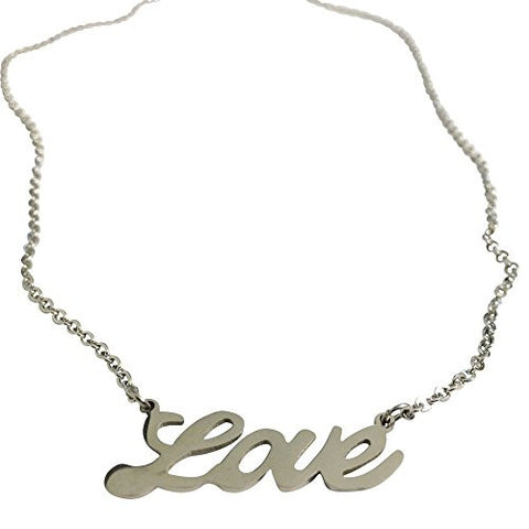 Love Pendant Cursive Writing Necklace Stainless Steel 17 Inches Long 30mm Wide Pendant - shopvistar