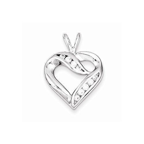 Sterling Silver Cz Heart Pendant, Best Quality Free Gift Box Satisfaction Guaranteed - shopvistar