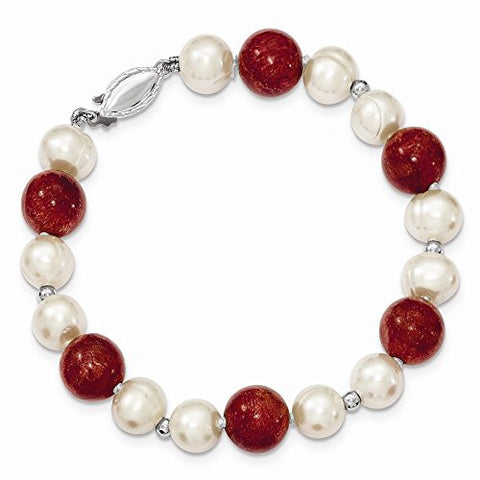 Sterling Silver 2-freshwater Cultured Pearls & Red Coral Bracelet - shopvistar