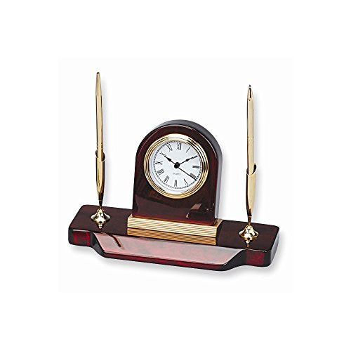 Wood Desk Clock Two Pen Stand - shopvistar