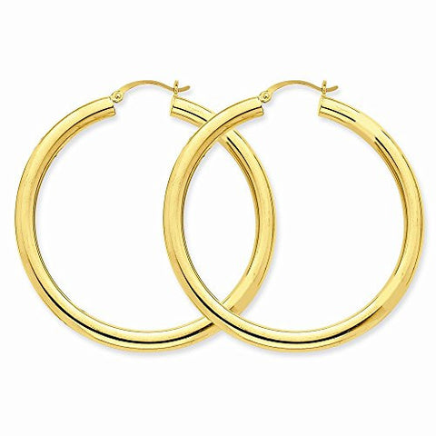 10k Polished 4mm X 50mm Tube Hoop Earrings, Best Quality Free Gift Box Satisfaction Guaranteed - shopvistar