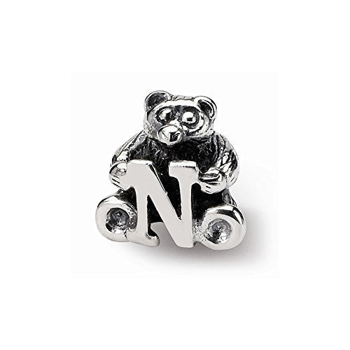 Sterling Silver s Kids Letter N Bead by Reflection Beads - shopvistar