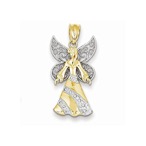 14k Yellow & White Gold w/ Rhodium Fairy Pendant, Best Quality Free Gift Box Satisfaction Guaranteed - shopvistar