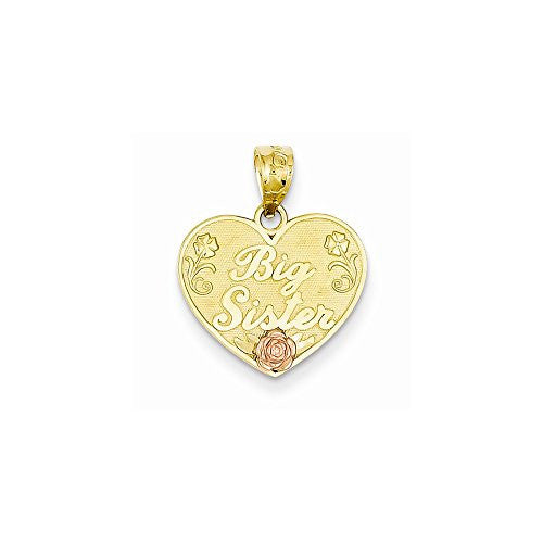 14k Two-tone Big Sister Heart Pendant, Best Quality Free Gift Box Satisfaction Guaranteed - shopvistar