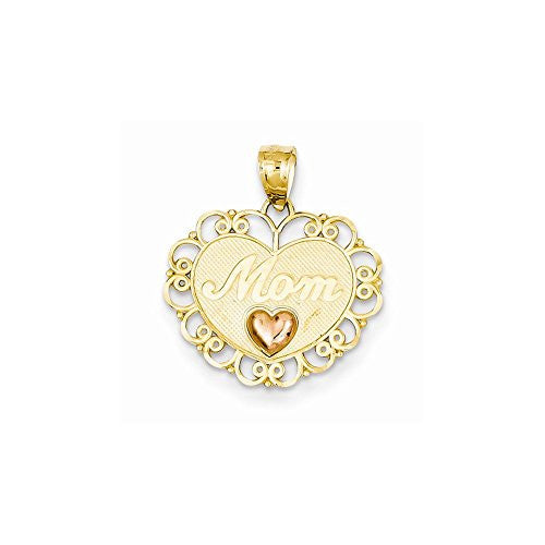 14k Two-tone Mom Heart Pendant, Best Quality Free Gift Box Satisfaction Guaranteed - shopvistar