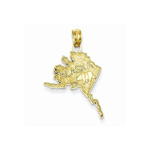 14k Polished & Textured Alaska Map Pendant, Best Quality Free Gift Box Satisfaction Guaranteed - shopvistar