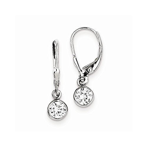 Sterling Silver CZ Leverback Earrings - shopvistar