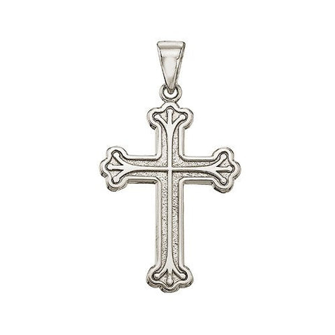 "14K White Gold Large Cross Pendant with 18"" Chain - shopvistar"