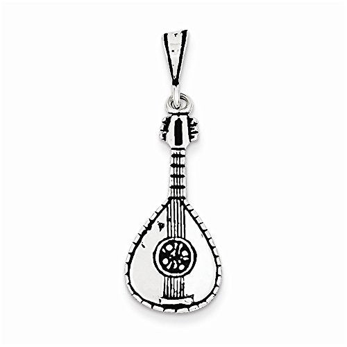 Sterling Silver Antiqued Mandolin Charm, Best Quality Free Gift Box Satisfaction Guaranteed - shopvistar