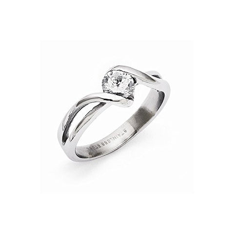 Stainless Steel Polished Round CZ Ring , Size: 6 - shopvistar