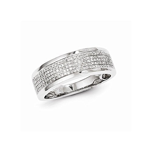 Sterling Silver Diamond Men's Band Ring, Best Quality Free Gift Box Satisfaction Guaranteed - shopvistar