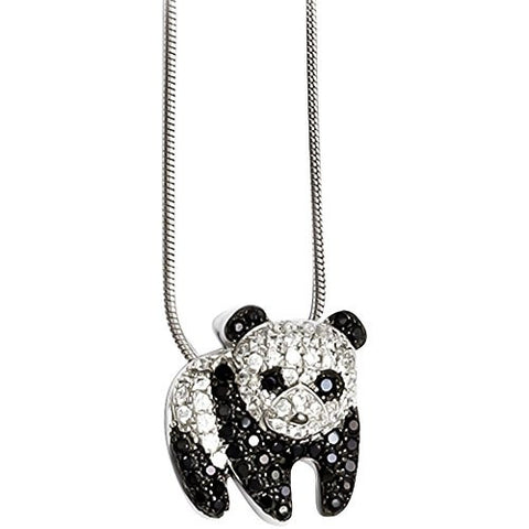 Sterling Silver & Cz Panda Necklace by Brilliant Embers - shopvistar