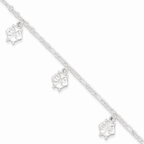 Sterling Silver Polished Owl Bracelet, Best Quality Free Gift Box Satisfaction Guaranteed - shopvistar