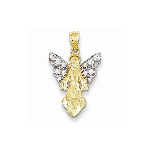 14k Yellow Gold Rhodium Plated Dia-Cut Angel Pendant - shopvistar