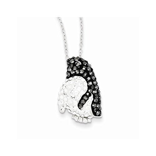 Sterling Silver Black & White Stellux Crystal Penguin Necklace - shopvistar