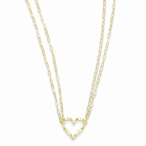 14k Adjustable Double Strand Heart Necklace, Best Quality Free Gift Box Satisfaction Guaranteed - shopvistar