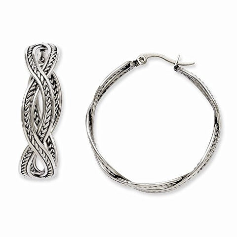 Stainless Steel 35mm Twisted Hoop Earrings - shopvistar