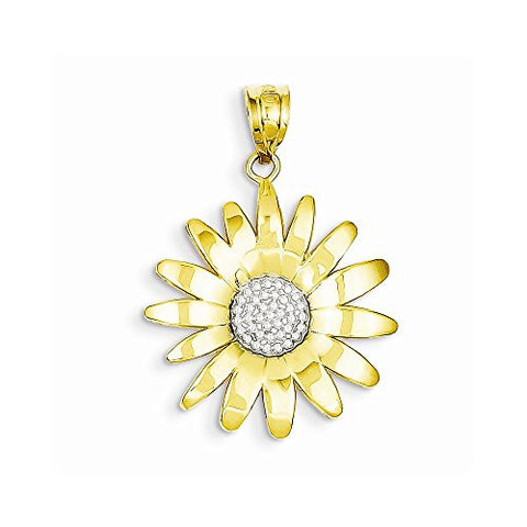 14k & Rhodium Sunflower Pendant, Best Quality Free Gift Box Satisfaction Guaranteed - shopvistar