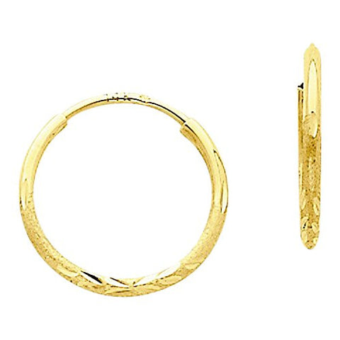 14k 1.25mm D/C Endless Hoop Earring, Best Quality Free Gift Box Satisfaction Guaranteed - shopvistar