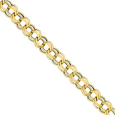 14k Lite 8mm Double Link Charm Bracelet, Best Quality Free Gift Box (sold as single piece) - shopvistar