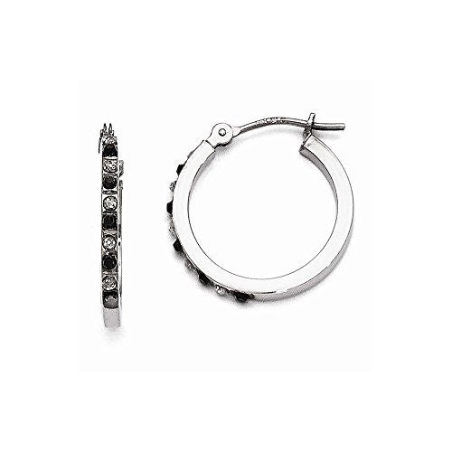 14k White Gold Diamond Fascination Black & White Dia. Round Hinged Hoop Earrings - shopvistar