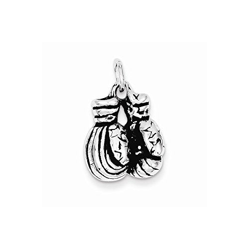 Sterling Silver Antiqued Boxing Gloves Charm, Best Quality Free Gift Box Satisfaction Guaranteed - shopvistar
