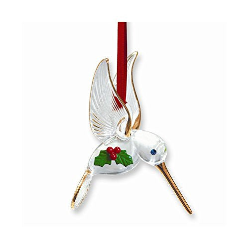 Hummingbird with Holly Glass Ornament - shopvistar
