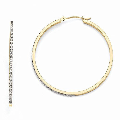 14k Diamond Fascination Large Round Hinged Hoop Earrings, Best Quality Free Gift Box Satisfaction Guaranteed - shopvistar