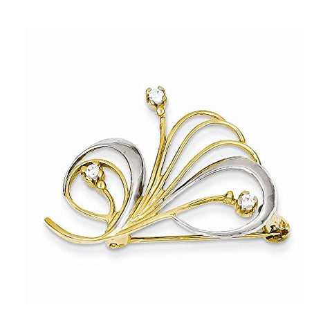 14k Rhodium & Cz Swirl Pin, Best Quality Free Gift Box Satisfaction Guaranteed - shopvistar