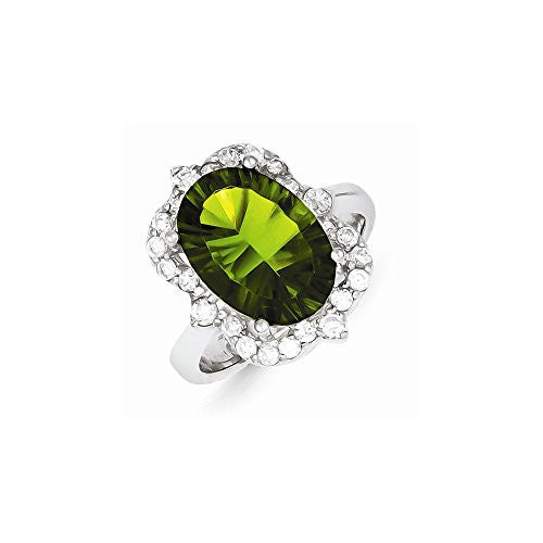 Sterling Silver Green & Clear Cz Ring, Best Quality Free Gift Box Satisfaction Guaranteed - shopvistar