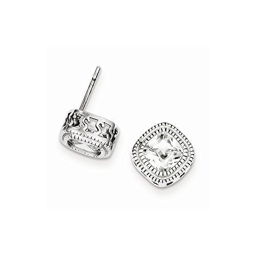 Sterling Silver CZ Square S Border Earrings - shopvistar
