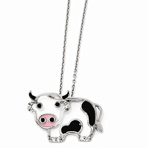 Sterling Silver CZ Enamel Cow 18 Necklace - shopvistar