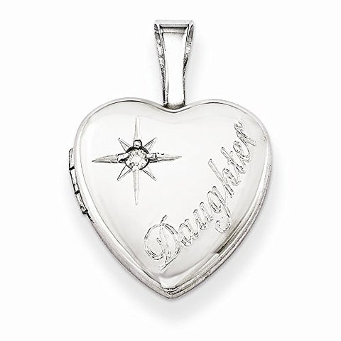 Sterling Silver & Diamond Daughter 12mm Heart Locket, Best Quality Free Gift Box Satisfaction Guaranteed - shopvistar